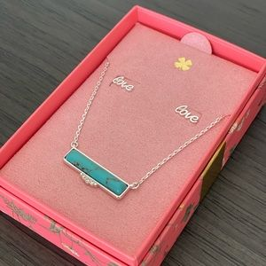 🍀 Lucky Brand Stone Bar Necklace & Love Earrings